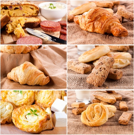 Large group of fresh baked pastry  photo
