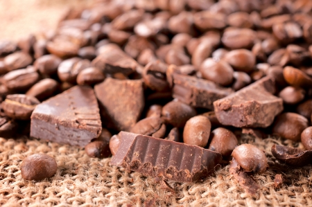 cocoa beans: Handmade chocolate and coffee beans  Stock Photo