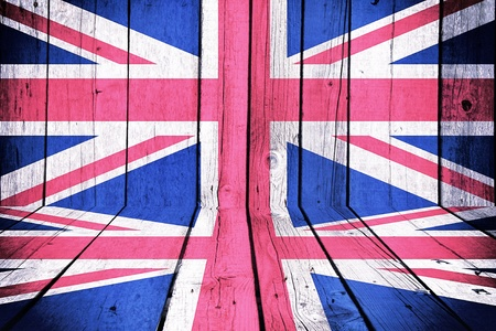 oiled: The flag of Great Britain on wooden background