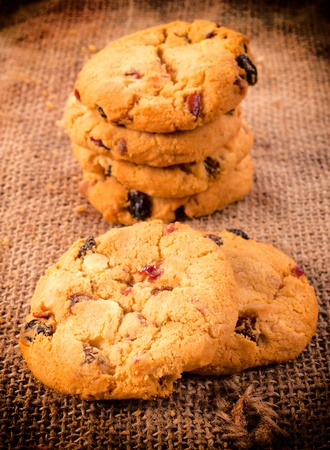 Selective focus on the front homemade cranberry cookies Stock Photo