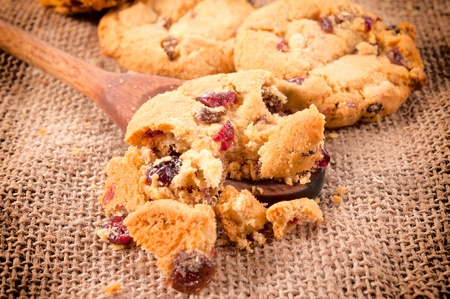 loe: Selective focus on the cookies crumbles on laddle