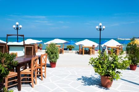 Empty beach restaurant at Thassos island