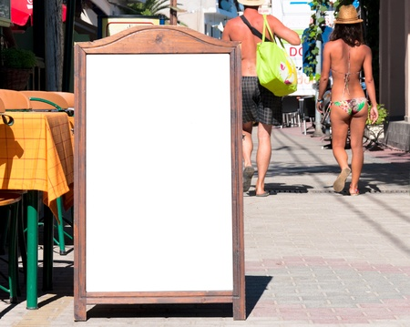 Blank menu board on the street photo