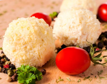 suppertime: Selective focus on the left cheese ball Stock Photo