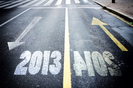 White and yellow arrow showing passed and new year Stock Photo - 22723063