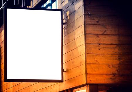 billboard blank: Small blank billboard on the wooden building