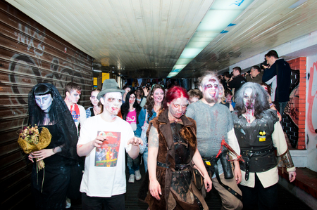 BELGRADE, SERBIA - OCT 19: Unidentified people at the second zombie festival and concert music held at Prince Michael suare on October 19, 2013 in Belgrade, Serbia