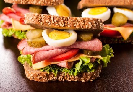 Big and tasty tost sandwich with sausage and eggs  photo