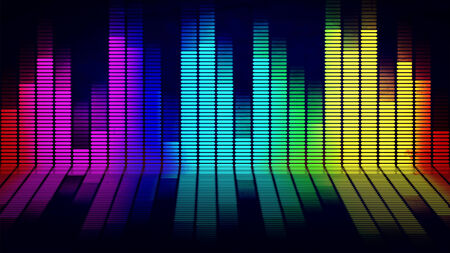 riff: Graphics of music equalizer on black background