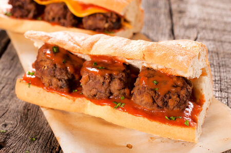 Meat balls and homemade tomato sauce in the bread  photo