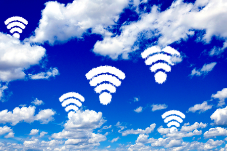 Wifi shape sign on clear blue sky  Stock Photo - 23854139
