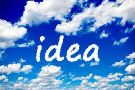 Idea clouds on the clear blue sky photo