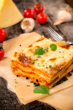 Traditional Italian lasagna with beef meat.Selective focus on the lasagna photo