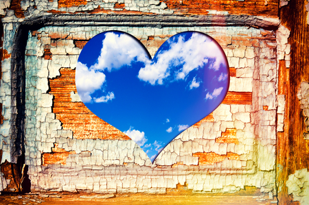 Wooden background with heart shape window photo