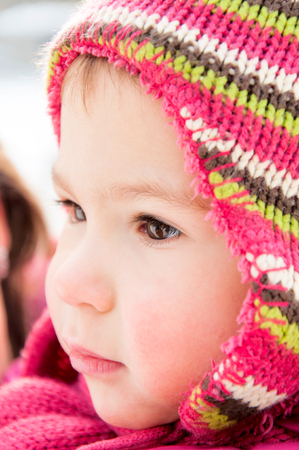 Portrait of child with winter cap photo