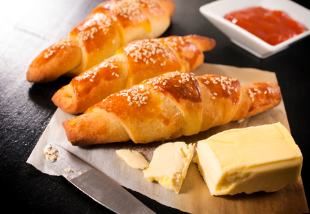 Mini homemade croissant with butter and jam.Selective focus on the front croissant Stock Photo - 25767978