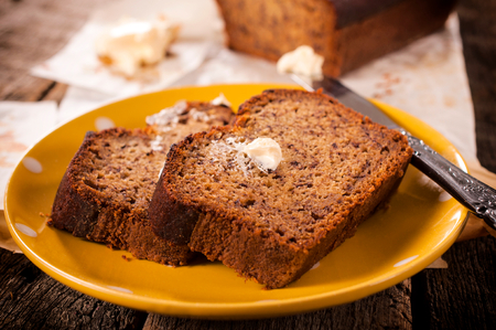 banana bread: Selective focus on the front  bread slice on plate Stock Photo