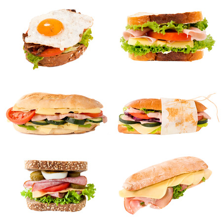 Group of sandwiches in isolated on white background photo