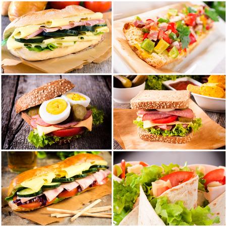 Groep van sandwiches in tortilla en toast brood