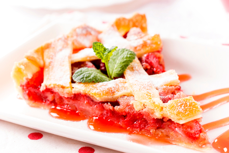 Selective focus on th front part of strawberry pie  Stock Photo