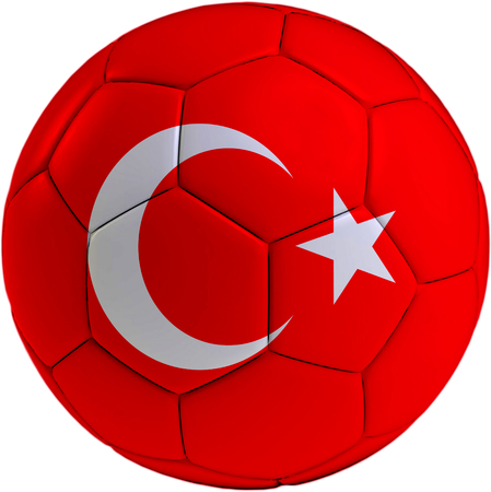 Football ball with Turkish flag isolated on white background  photo