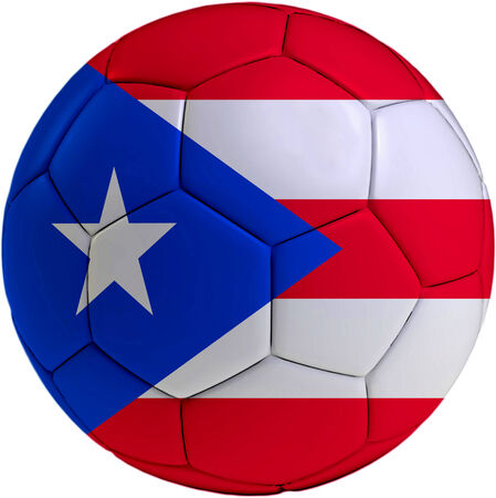rican: Football ball with Puerto Rican flag isolated on white background  Stock Photo