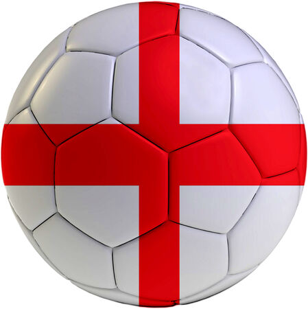 Football ball with England flag isolated on white background  photo