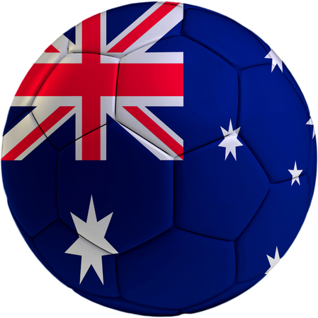 Football ball with Australian flag isolated on white background  photo