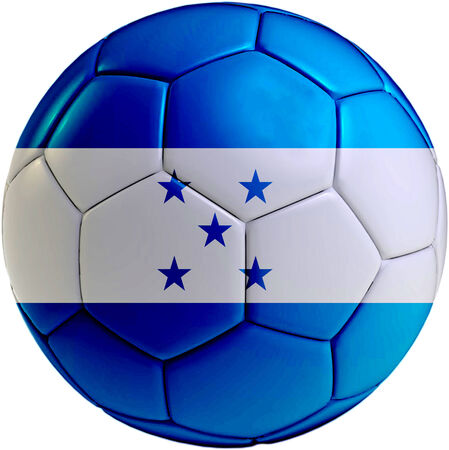 bandera de honduras: Bal�n de f�tbol con la bandera de Honduras aislado sobre fondo blanco