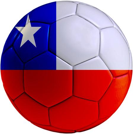 bandera chilena: Pelota de f�tbol con la bandera chilena aisladas sobre fondo blanco