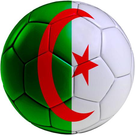 algerian flag: Football ball with Algerian flag isolated on white background