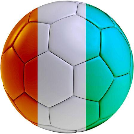 Football ball with Ivory Coast flag isolated on white background  photo