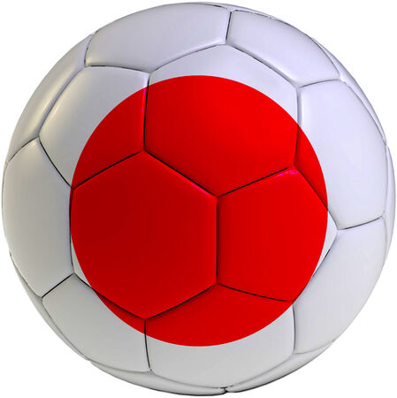 Football ball with Japan flag isolated on white background  photo