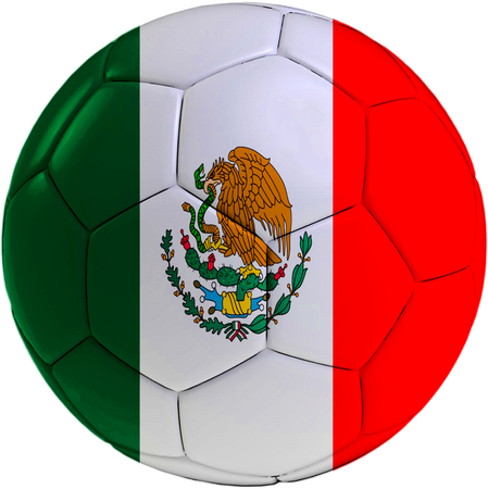 bandera de mexico: Pelota de fútbol con la bandera de México aislado sobre fondo blanco