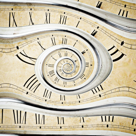 watch movement: Old vintage wall clock in the dros effect  Stock Photo