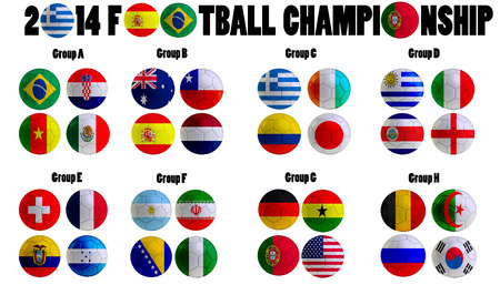 Football Championship 2014. in  Brazil. Groups A to H. 32 nation flags on football balls photo