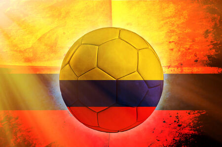 columbian: Soccer ball with Columbian flag as the background