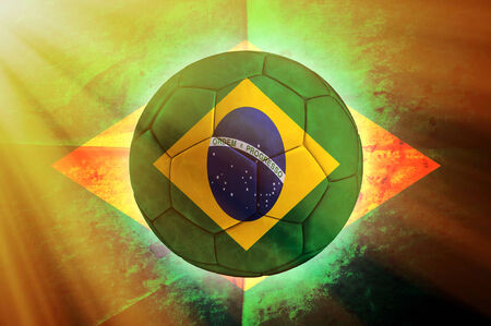 Soccer ball with Brazilian flag  photo
