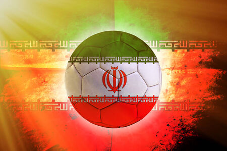 iranian: Soccer ball with Iranian flag as the background