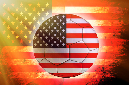 Soccer ball with USA flag as the background photo