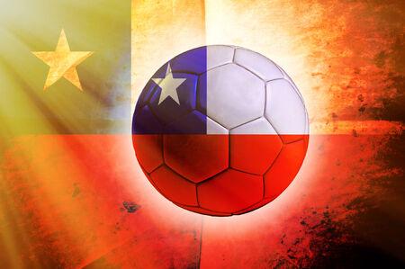 chilean flag: Bal�n de f�tbol con la bandera chilena en el fondo
