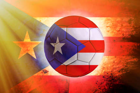puerto rican flag: Soccer ball with Puerto Rican flag as the background
