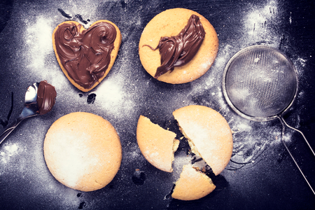 Homemade cookies with melted chocolate and sugar powder from above Stock Photo - 27463312