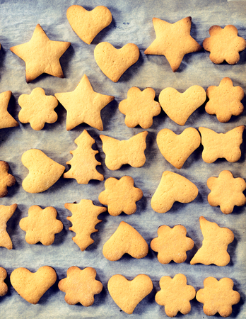 upperdeck view: Different shapes of homemade cookies from above