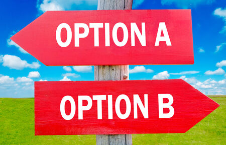 Option A and B choice showing strategy change or dilemmas photo