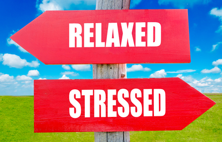 destress: Relaxed and stressed choice showing strategy change or dilemmas Stock Photo