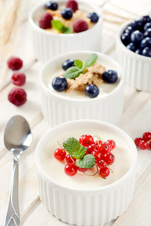 blancmange: Panna cotta dessert with berry fruits.Selective focus on the red currant  Stock Photo