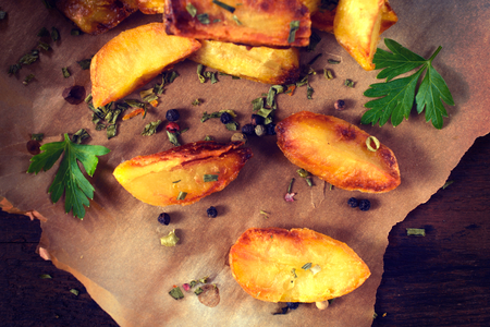 prepared potato: Baked pototeas and chive from above on the table
