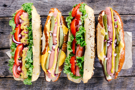 reuben: Hot dogs from above on the wooden background