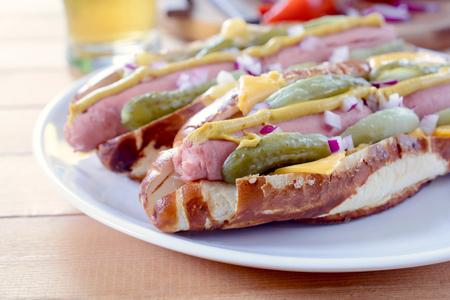 reuben: Boild wurst in Bavarians buns.Selective focus on the front wrust Stock Photo
